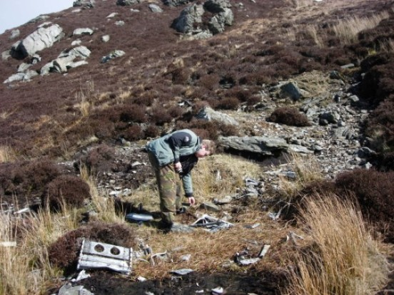 Crash site of Lockheed Neptune WX545 on Beinn na Lice, Mull of Kintyre