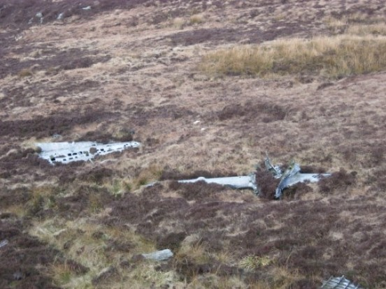 Tail fin and tail-plane at the crash site of Lockheed Neptune WX545 on Beinn na Lice, Mull of Kintyre
