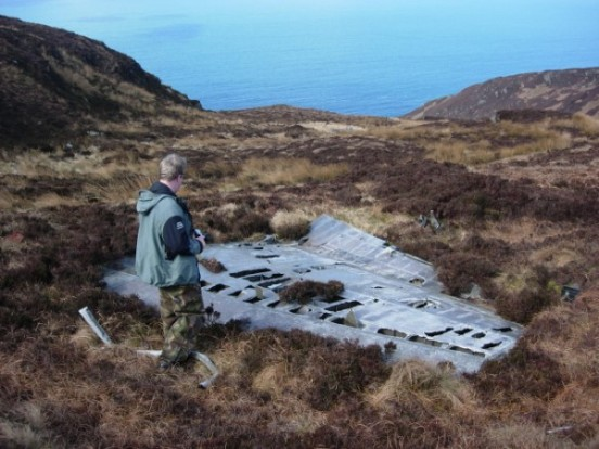 Tail fin at the crash site of Lockheed Neptune WX545 on Beinn na Lice, Mull of Kintyre