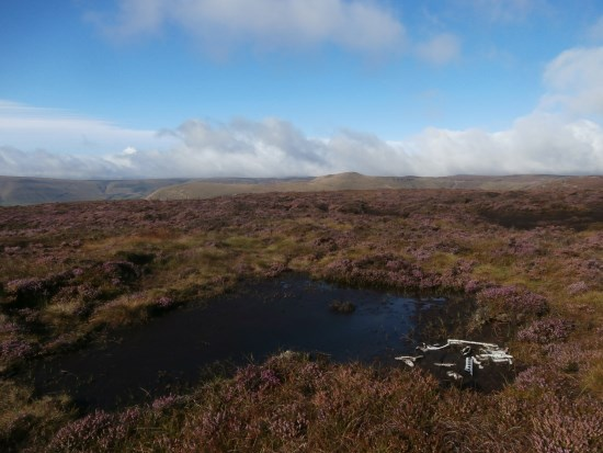 Wreckage at the crash site of Vickers Wellington Mk.III X3348 on Blackden Edge, Kinder Scout, Edale