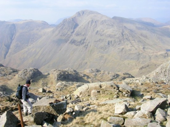The crash site of de Havilland Dominie X7394 on Broad Crag, Scafell Pike, looking towards Great Gable