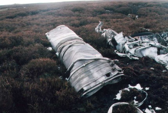 Wreckage at the crash site of Gloster Javelin XA662 on Apedale moor, Castle Bolton, Yorkshire