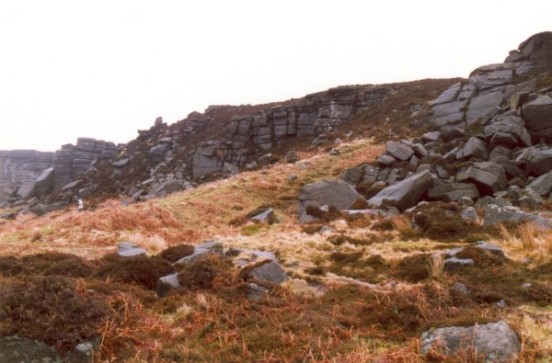 Crash site of de Havilland Vampire T. Mk.11 XE866 on Stanage Edge near Hathersage, Derbyshire