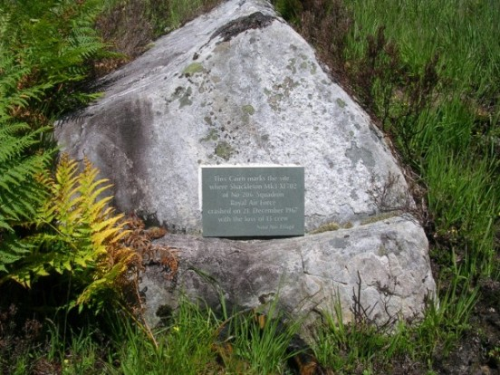 Memorial plaque attached to a rock at the crash site of Avro Shackleton XF702 on Creag Bhan, Lochailort