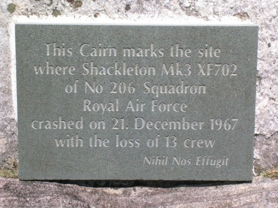 Memorial plaque at the crash site of Avro Shackleton XF702 on Creag Bhan, Lochailort