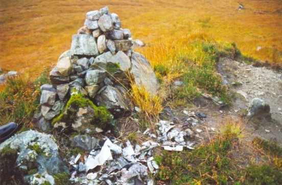 Small amount of wreckage and cairn at the crash site of Avro Shackleton XF702 on Creag Bhan, Lochailort