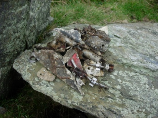 Wreckage at the crash site of Hawk XX172 on Clagh Ouyr, Isle of Man - copyright Peak District Air Accident Research