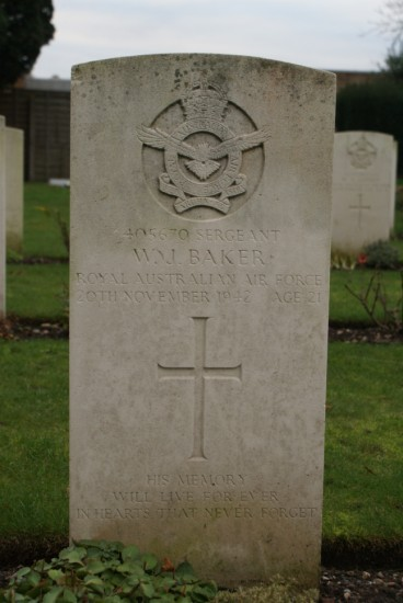 Grave of Sergeant William John Baker at Fradley Churchyard near Lichfield airfield