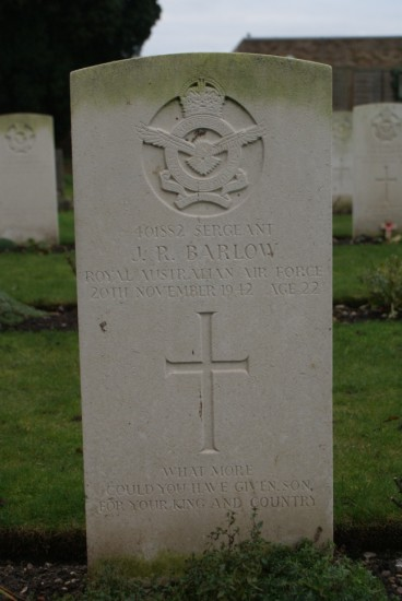 Grave of Sergeant James Robert Barlow at Fradley Churchyard near Lichfield airfield