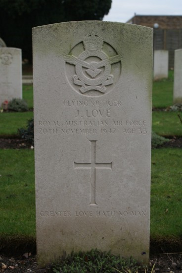 Grave of Flying Officer James Love at Fradley Churchyard near Lichfield airfield