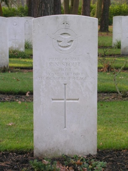 Grave of Pilot Officer Roy Neal Stout at Brookwood Military Cemetery, Surrey