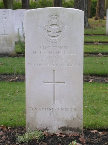 Grave of Pilot Officer Hugh Harrison McCall at Brookwood Military Cemetery, Surrey