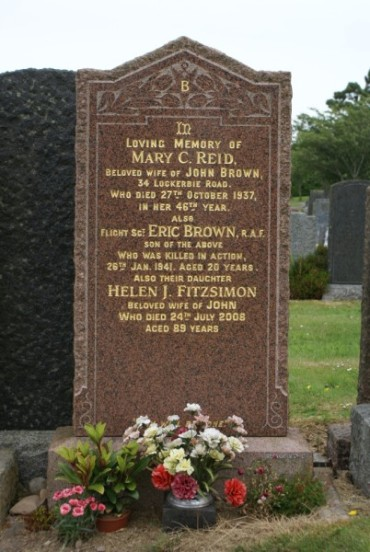Grave of Sergeant Eric Brown at St Michael's Cemetery, Dumfries
