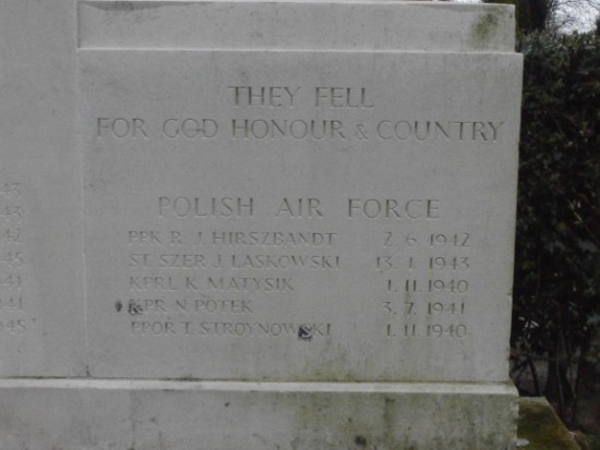 Screen wall at Manchester Southern Cemetery commemorating Sergeant Nikodem Plotek, Polish Air Force