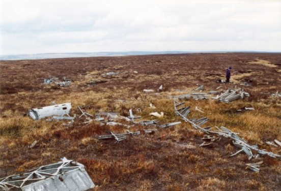 Crash site of Wellington Z8808 on Gouthwaite Moor near Pateley Bridge, North Yorkshire