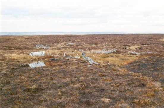 Wreckage at the crash site of Wellington Z8808 on Gouthwaite Moor near Pateley Bridge, North Yorkshire