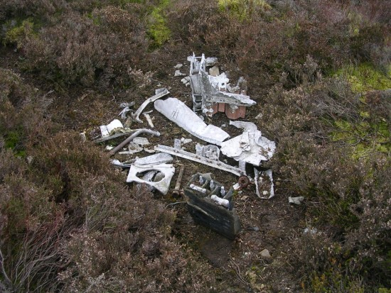 Wreckage at the crash site of Armstrong Whitworth Whitley Z9221 on Kirkby Malzeard Moor, Ripon, Yorkshire