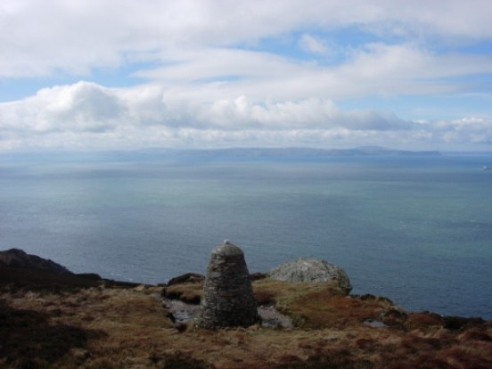Memorial cairn at the crash site of Boeing Vertol Chinook ZD576 on Beinn na Lice, Mull of Kintyre