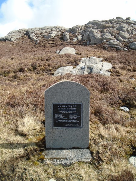 Memorial at the crash site of B-24D 42-72851 on Li a Tuath, Lochmaddy, North Uist