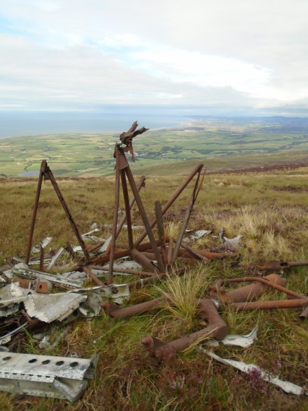 Wreckage at the crash site of Beechcraft C-45 44-47194 on Black Combe, Millom, Cumbria