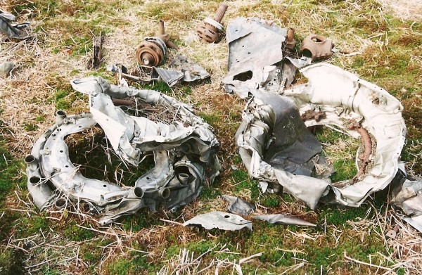 Wreckage at the crash site of Douglas C-54A 45-543 on Stake House Fell, Garstang, Lancashire