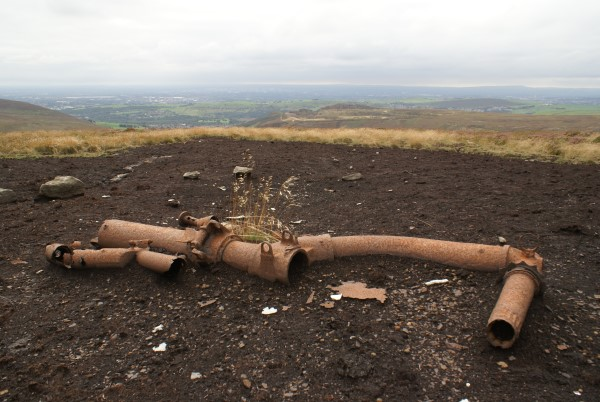 Undercarriage oleo at the crash site of Consolidated PB4Y-1 63949 on Broken Ground, Mossley