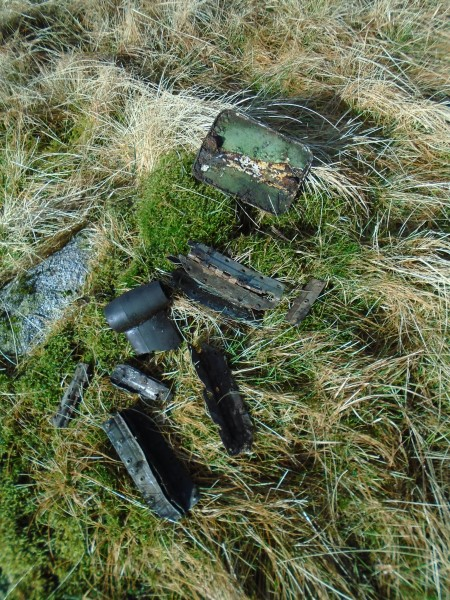 Wreckage at the crash site of Avro Anson EF935 on Corney Fell, Bootle, Cumbria