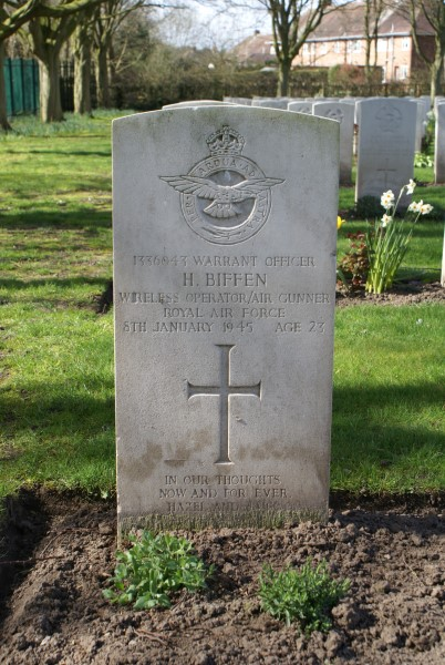 Grave of Warrant Officer Harold Biffen at Blacon Cemetery, Chester, killed in Avro Anson EF935 on Corney Fell, Bootle, Cumbria