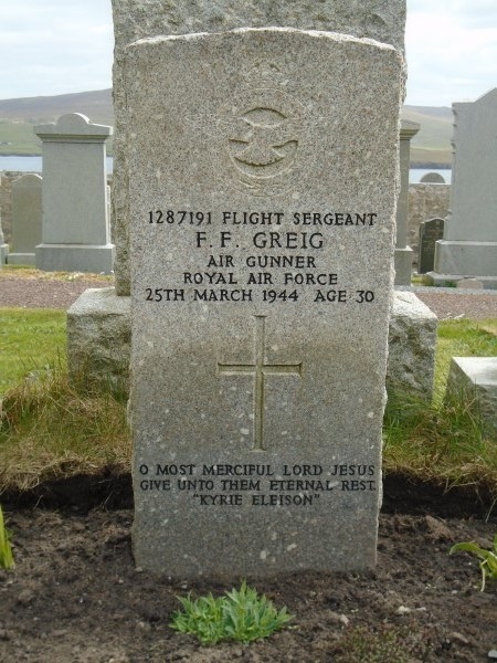 Grave of Flight Sergeant Francis Frederick Greig Cemetery, killed on Consolidated Catalina JX210 on Shetland