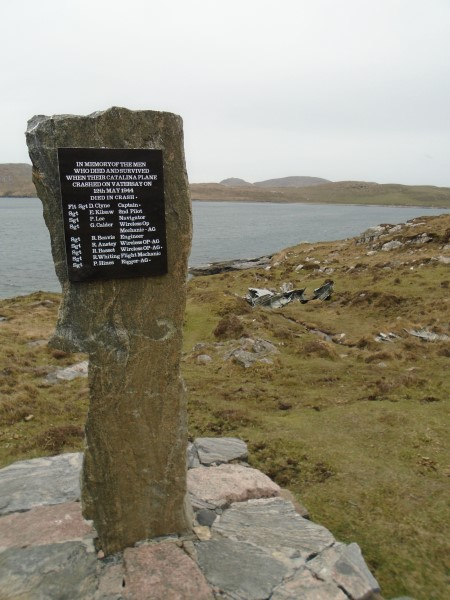 Memorial on the Isle of Vatersay near to the crash site of Consolidated Catalina JX273