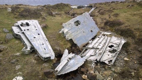 Wreckage close to the crash site of Consolidated Catalina Mk.IVB JX273 on Theiseabhal Beag, Isle of Vatersay