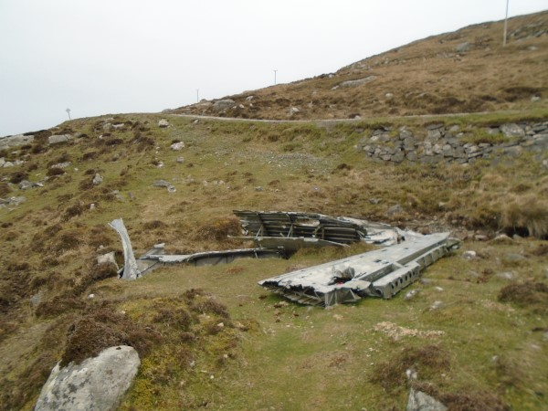 Wreckage near to the crash site of Consolidated Catalina Mk.IVB JX273 on Theiseabhal Beag, Isle of Vatersay
