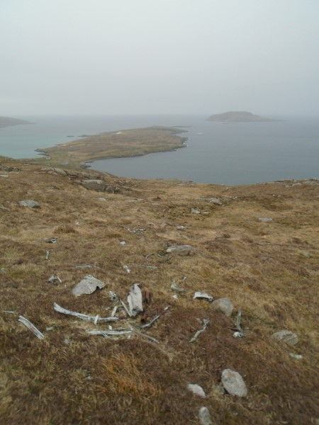 Wreckage at the crash site of Consolidated Catalina Mk.IVB JX273 on Theiseabhal Beag, Isle of Vatersay
