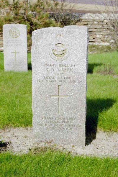 Grave of Sergeant Richard Douglas Harris, Royal Air Force, at Lyness Naval Cemetery, Hoy, Orkney