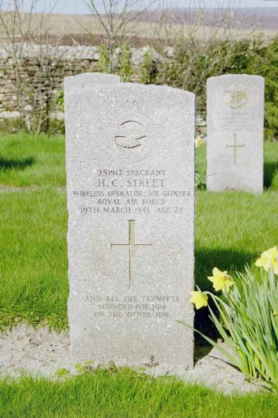 Grave of Sergeant Howard Collard Street, Royal Air Force, at Lyness Naval Cemetery, Hoy, Orkney