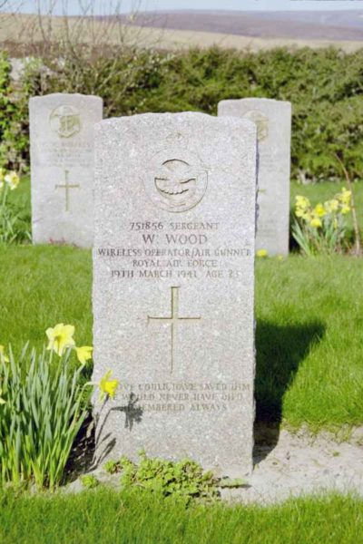 Grave of Sergeant Wilfred Wood, Royal Air Force, at Lyness Naval Cemetery, Hoy, Orkney