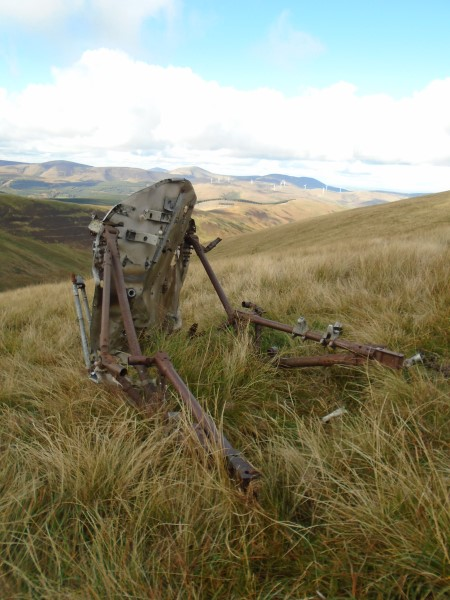 Wreckage, engine firewall and bearers, at the crash site of Miles Master Mk.I N7761 on Broad Law, Scottish Borders