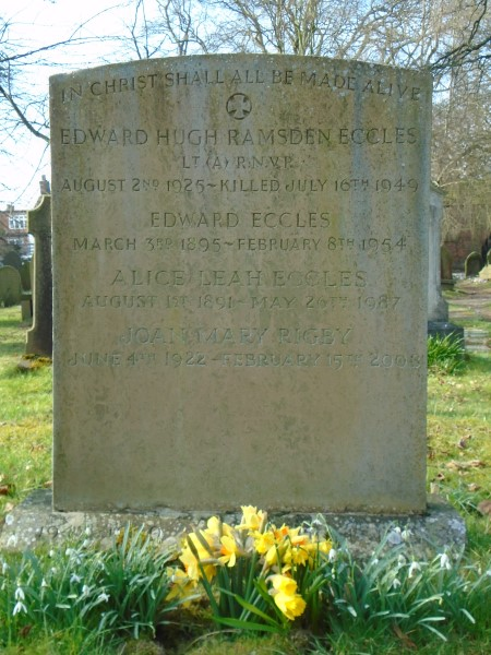 Grave of Lieutenant Edward Hugh Ramsden Eccles at St Peter's Church Prestbury