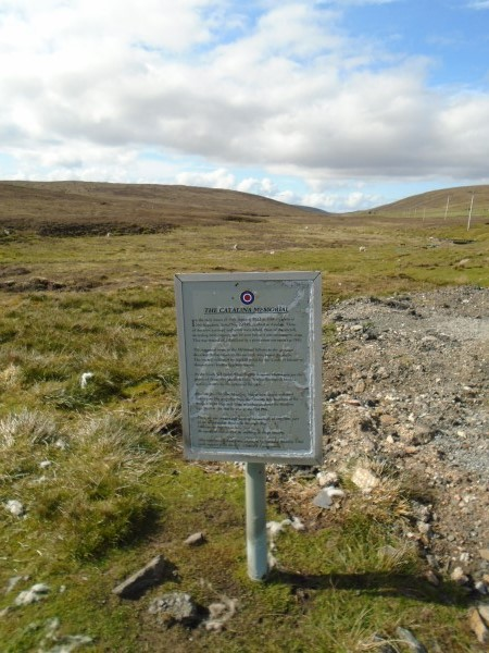 Information board about the crash of Catalina Z2148 on the Island of Yell