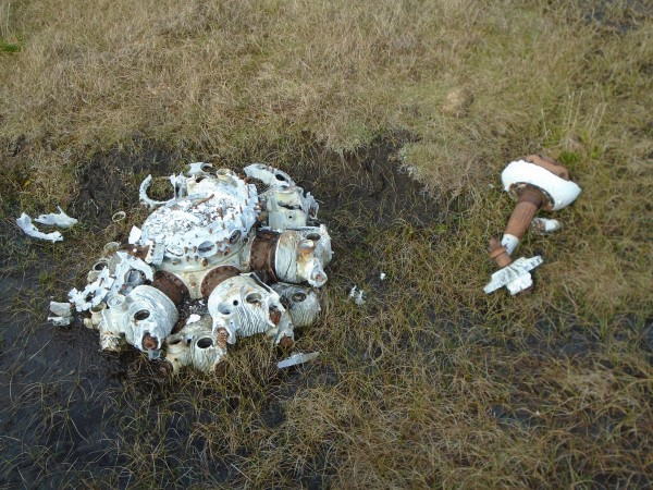 Twin Wasp engine at the crash site of Catalina Z2148 on Willa-mina Hoga, Isle of Yell, Shetland