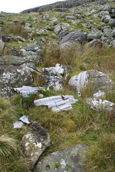 Wreckage at the crash site of Armstrong Whitworth Whitley Mk.V BD232 on Foel Fras, Conwy, Snowdonia