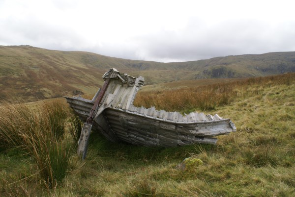Wreckage near the crash site of Armstrong Whitworth Whitley Mk.V BD232 on Foel Fras, Conwy