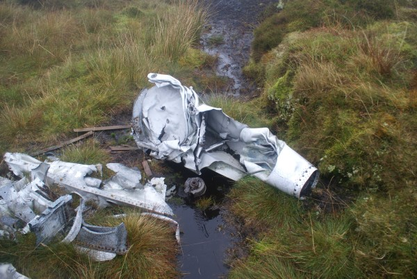 Wreckage at the crash site of de Havilland Venom WR557 at Farlam Currick, Croglin Fell
