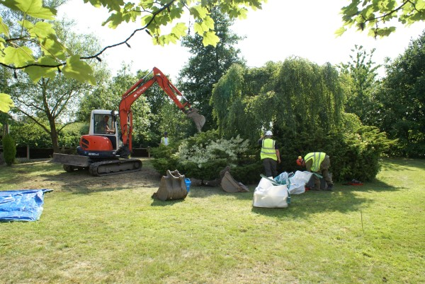Reinstating the garden at the crash site of Mustang Mk.IV KH838 at Wrightington, Lancashire