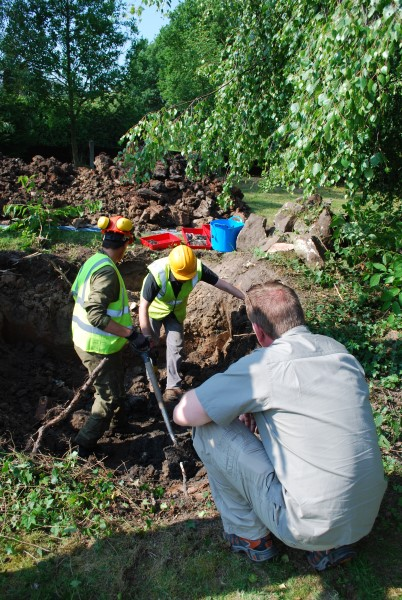 Excavating the crash site of Mustang KH838 at Wrightington, Lancashire
