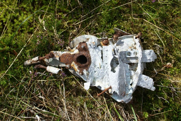 Wreckage at the crash site of Supermarine Spitfire Mk.Vb W3244 on Bullhope Law, Gifford, Lammermuir Hills.