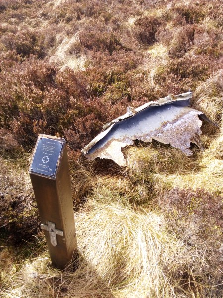 Memorial and wreckage at the crash site of Ju88 144354 on Linhope Rigg, Northumberland