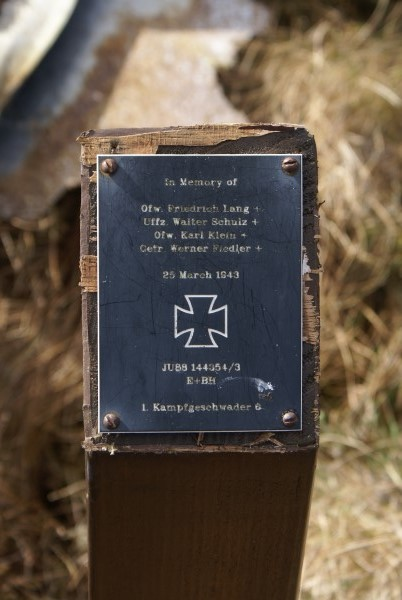 Memorial at the crash site of Ju88 144354 on Linhope RIgg, Northumberland