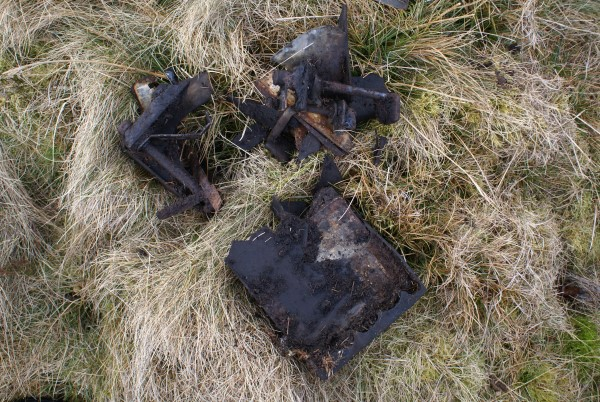 Wreckage at the crash site of Ju88 144354 on Linhope RIgg, Northumberland