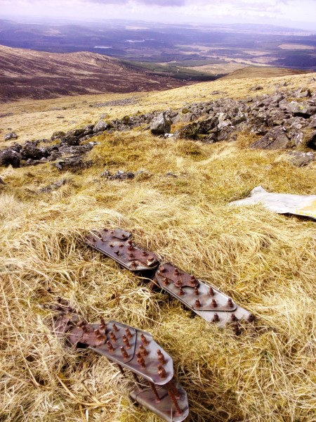 Wreckage at the crash site of Oxford T1287 on Shalloch on Minnoch, Ayrshire